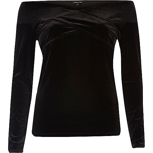 Black velvet bardot wrap top