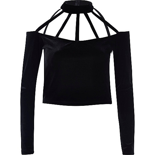Black velvet choker crop top