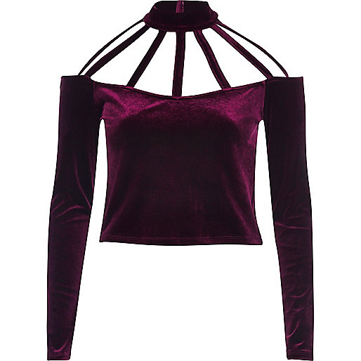 Dark red velvet choker crop top