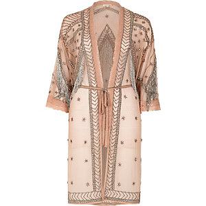 Light pink embellished kimono