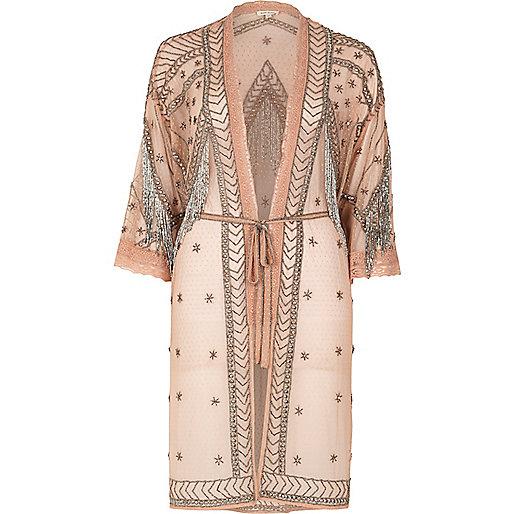 Kimono rose clair orné