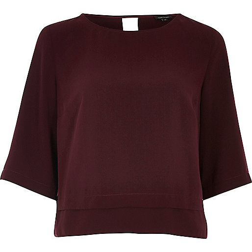 Dark red cropped hem top
