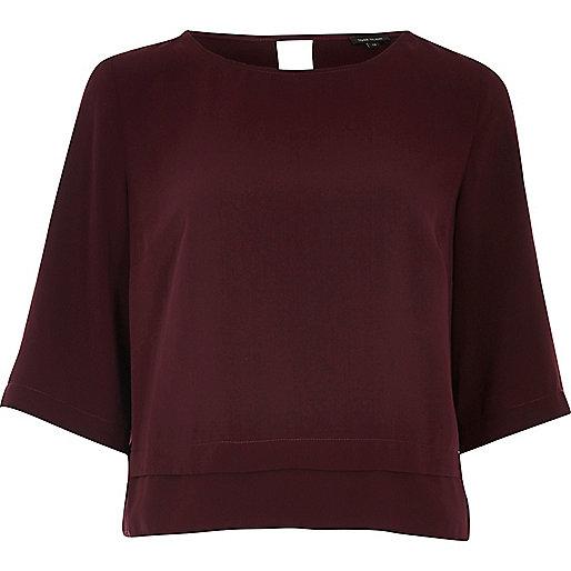 Dark red cropped hem top