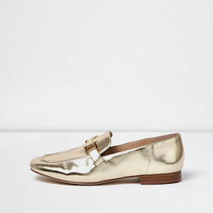 Gold soft loafers