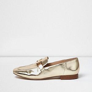 Weiche, goldene Loafer