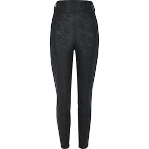 Black textured high rise tube pants