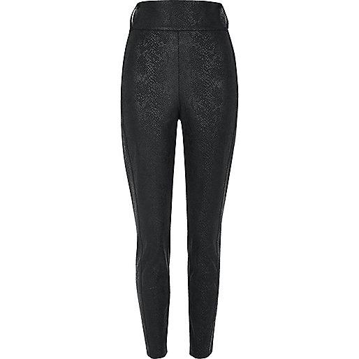 Black textured high rise tube pants