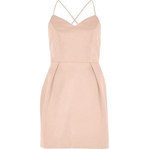 Blush pink cami strap mini dress