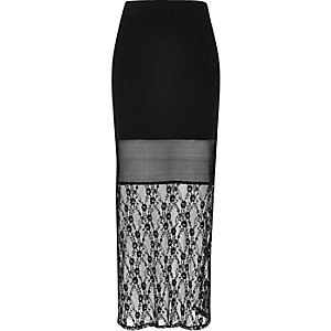 Black lace panel maxi skirt