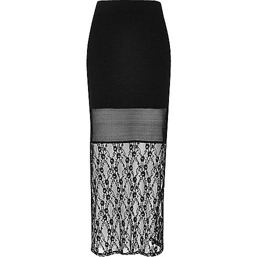 Black lace panel maxi skirt