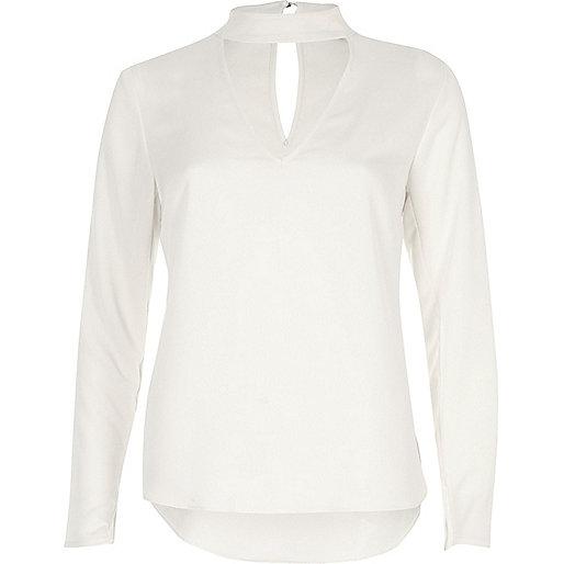 Cream choker blouse