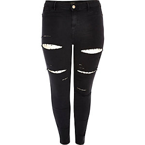 Plus black ripped high rise going out jeans