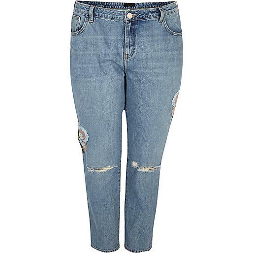 Plus – Alannah – Jeans mit Blumenmuster