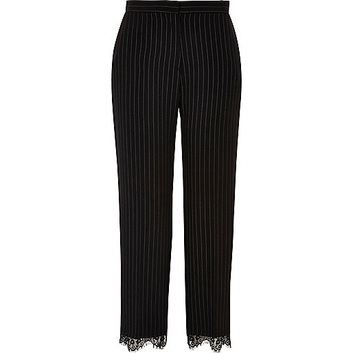 Black lace hem pinstripe trousers