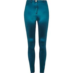 Glänzende, dunkelblaue Slim Fit Hose