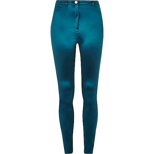 Shiny dark blue tube pants