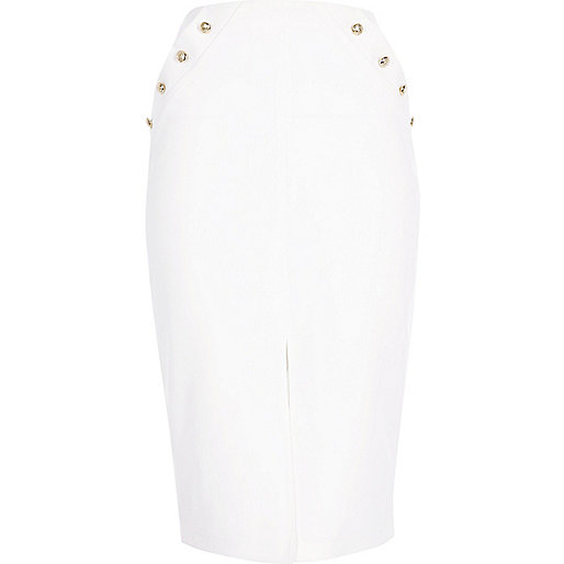 White military wrap pencil skirt