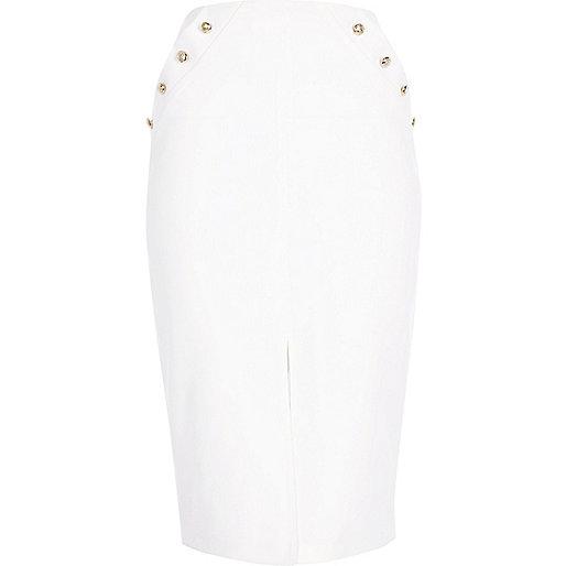 White military wrap pencil skirt