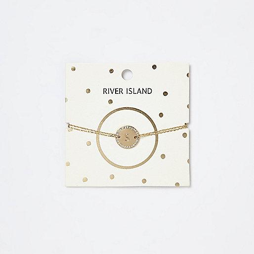"Goldenes Armband mit Initiale ""S"""