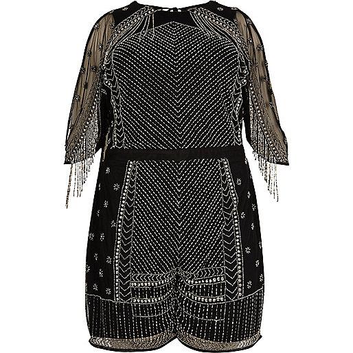 Plus black embellished romper