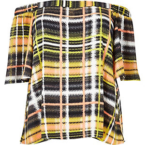 RI Plus yellow checked bardot top