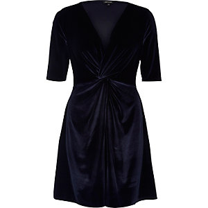 Navy velvet knot skater dress