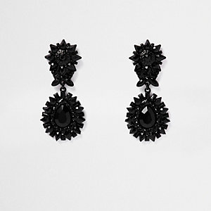 Black spike door knocker earrings