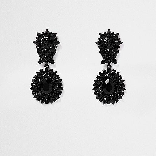 Black spike door knocker earrings