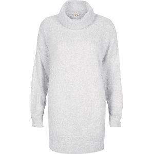 Light grey fluffy cowl neck jumper