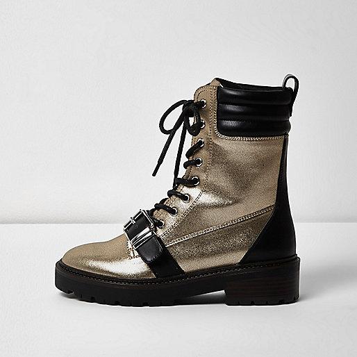 Gold metallic buckle boots