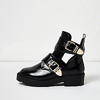 Black patent wide fit cut-out buckle boots