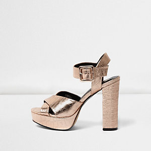 Rose gold scale cross strap platform heels