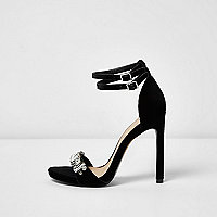 Black velvet embellished sandals