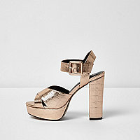 Rose gold wide fit platform heel sandals