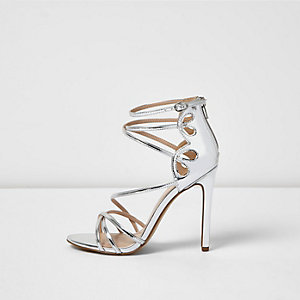 Silver metallic strappy heels