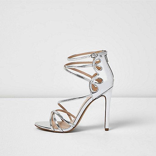 Silver metallic strappy heels