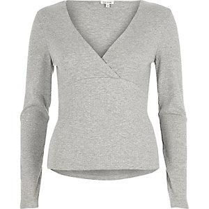 Grey plunge V-neck top
