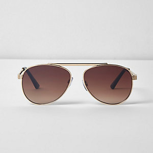 Gold tone brow bar aviator sunglasses