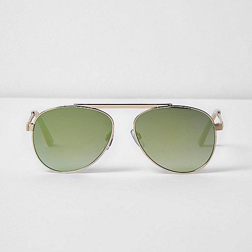 Goldene Sonnenbrille mit grün verspiegelten Gläsern