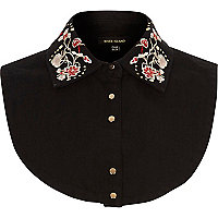 Black denim floral bib collar