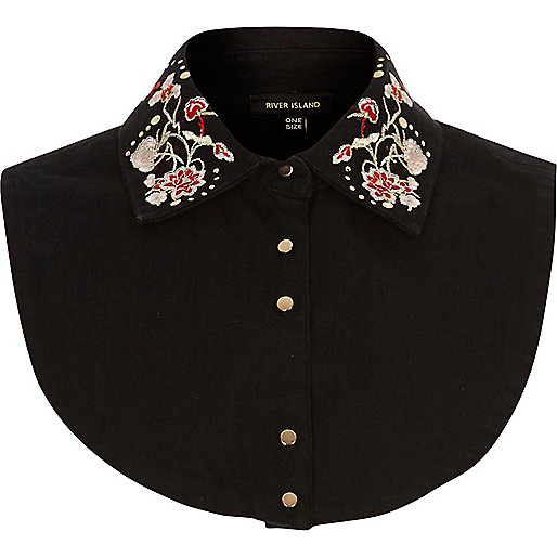 Black denim floral bib collar