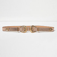 Rose gold double buckle Western belt