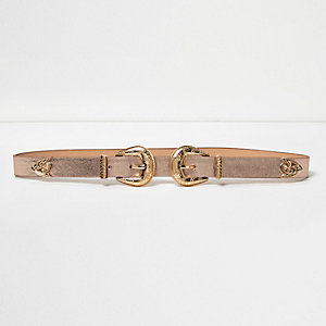 Rose gold double buckle Western belt