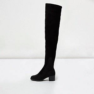 Black soft wide fit over the knee boots