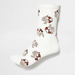 White dog print socks