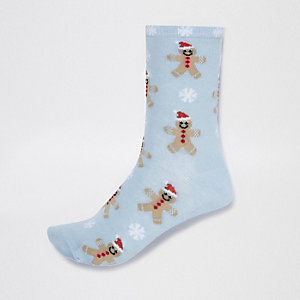 Blue gingerbread man print socks