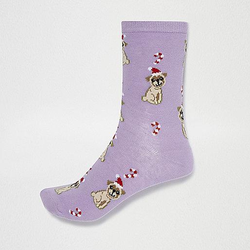 Purple festive pug print socks