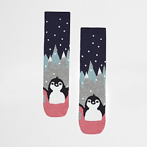Navy penguin pair print socks