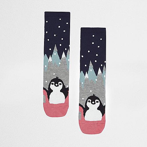 Chaussettes imprimées de deux pingouins bleu marine