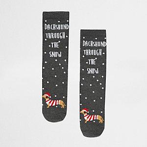 Grey Christmas sausage dog print socks